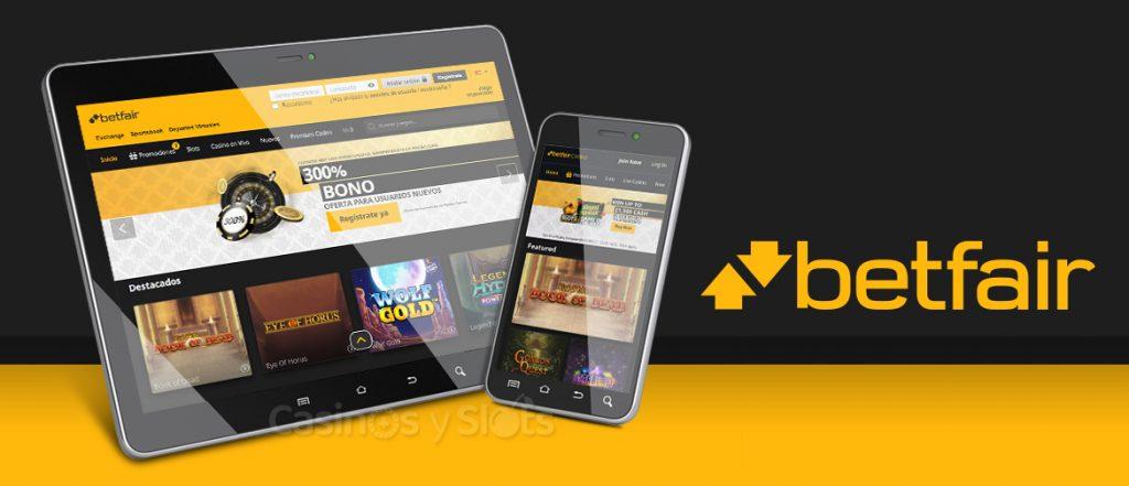 Betfair Casino disponible en móviles y tabletas